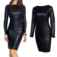 Womens Faux Leather Club Bodycon Wet look Long Sleeve Pencil Stretch Party Dress