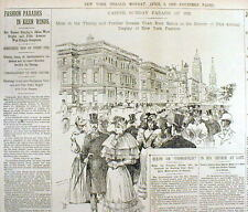 1893 newspaper w Large illustration NEW YORK CITY EASTER PARADE on FIFTH AVENUE