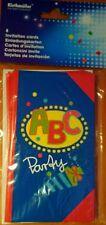 8x Einladungskarten Schuleinführung ABC Party , 9,5cm x 14cm, mit Umschlägen