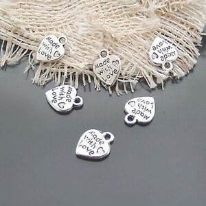 50X/SET SILVER/GOLD PLATED HANDMADE TOOLS WITH LOVE HEART SHAPED DIY CHARMS