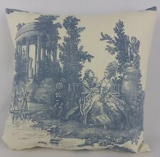 """Blue French Toile Pillow Cushion Cover Christopher Moore Trianon 16"""" Shabby Chic"""
