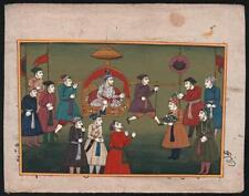 Gouache Miniature Painting PROCESSIONAL SCENE INDIAN MUGHAL STYLE 20TH CENTURY