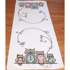 FAIRWAY Stamped Embroidery Cross Stitch Dresser Table Runner Scarf OWL FAMILY