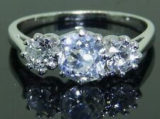 VINTAGE 1.54CT CUSHION OLD EUROPEAN CUT DIAMOND PLATINUM 3 STONE ENGAGEMENT RING