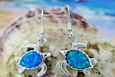 BRILLIANT STERLING SILVER SEA TURTLE WIRE EARRINGS WITH BLUE OPAL INLAY