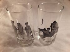"""Norman Rockwell lot of two """"Young man's fancy & A Lickin Good Bath"""" Glasses"""