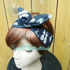 Wire Headband Dolly Bow Princess Jewels Print Rockabilly  Rabbit Ears Scarf