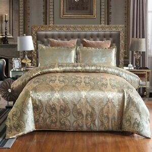 Jacquard Weave Duvet Cover Bed Euro Bedding Set 240x220 Quilts Pillowcases