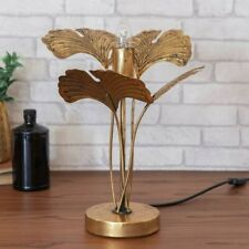 Distressed Gold Metal Palm Leaf Table Lamp 47.5cm