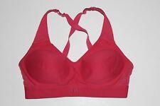 Under Armour UA Pink Padded Sports Bra Size Medium Cross Back Mid High Impact