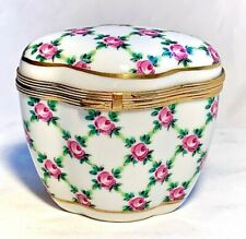 France French Tall Chamart Limoges Trinket Box With Roses Peint Main Limoge