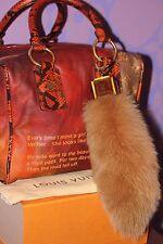 Louis Vuitton *FOXY* Bag Charm Key Chain Camel LV Logo Cube FOX TAIL Fur LIMITED