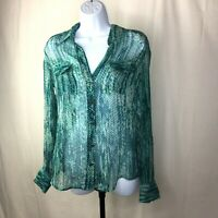 Lucky Brand Womens Size Small Top Long Sleeve Turquoise Button Down Blouse