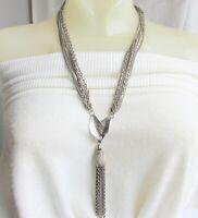 "70s Vintage 5-1/2""  Chain Tassel Double Leaves Pendant Necklace Silver Plate"