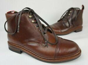 Allen Edmonds Hearst Cap Toe Boots Brown Leather Men's Size 8 3E EEE $395
