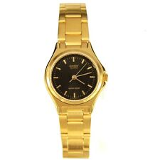 Casio LTP1130N-1A Ladies Gold Stainless Steel Casual Dress Watch Black Dial New