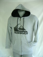 New Mens Quiksilver Small Gray Sherpa Lining Jacket Hoody $70 Heavy