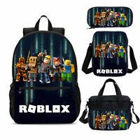 Roblox Boys School Backpack Set 4PCS Kids Shoulder Bag Lunch Bag Pencil Case Lot