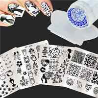 6Pcs/Set Nail Art Stamping Plates Cat Animal Image Template W/Stamper & Scraper