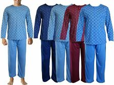 MENS PJ'S PYJAMAS SET GENTS NIGHT WEAR 2PCS LONG SLEEVE TOP TROUSER LOUNGE SUITS