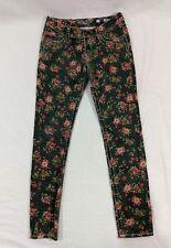 Miss Me Womens Cargo Jeans Size 27 Ankle Skinny Black Floral Flap Back Pockets