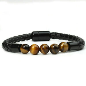 Natural Tiger's Eye Crystal Bead Men Women Lucky Charm Leather Bracelet Bangle