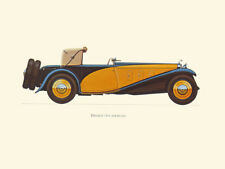 Canvas Print Vintage Car Poster Illustration - DELAGE 1933 (D8 SS 100)