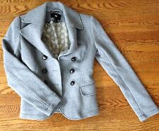H&M Grey lined knit jacket coat double breasted fitted Size small EUC