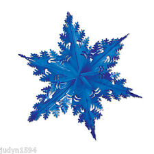 LARGE METALLIC BLUE SNOWFLAKE HANGING FOIL CHRISTMAS DECORATION FROZEN PARTY