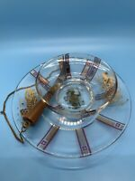 """Vtg  Glass With Gold  """"GEORGE BRIARD""""  CHEESE PLATE W/ COVER and Knife MCM"""