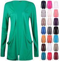 Womens Plus Size Long Sleeve Ladies Stretch Pocket Long Swing Open Cardigan Top