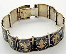 "Siam Sterling  Silver Niello  Panel Bracelet Link Elephant Black Goddess 6 """