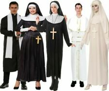 Nun & Priest Fancy Dress Costume Couples Halloween Outfits Pope Bishop Adults