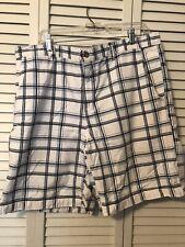 Mens Dress Shorts 38 Covington Blue on White Plaid 4 Pocket Belt Loops Cotton