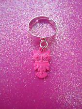 Adjustable Pink Owl Charm Dangle Ring