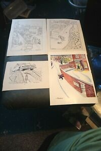 4 Vintage prints from punch by Brockbank ideal for framing (f)