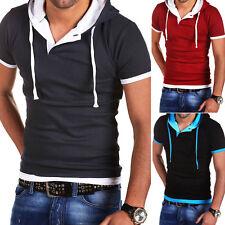 BEHYPE 2in1 Hooded T-Shirt Poloshirt Zip-Hoodie Hemd Schwarz/Grau/Rot/Blau NEU