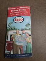 1953 Vintage Road Maps Esso Map United States Central and Western