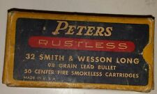 "VINTAGE AMERICAN ""PETERS 32 SMITH & WESSON LONG CENTER FIRE"" CARDBOARD BOX-EMPTY"
