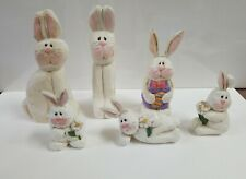 Eddie Walker Midwest Of Cannon Falls Bunny Rabbit Easter Figurines 1990'S- set 6