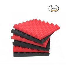 "6 Pack Eggcrate Red/Cha Acoustic Panels Soundproofing foam Foam Tile 1.5""x12""x12"