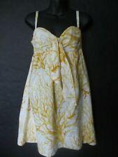 HD in Paris yellow & white print empire waist strapless cotton dress Size 4