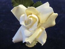 """Vintage Millinery Flower 2"""" Ivory Rose Cotton Fabric for Hat Wedding or Hair Z23"""