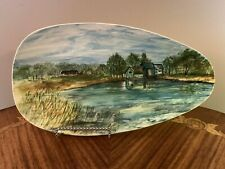 Beautiful Original Plein Air Painting, Signed 1973 Holland Mold Ceramic Oval