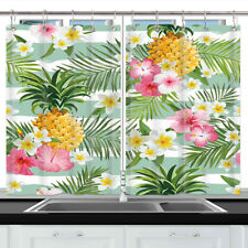 Pineapple Flower and Leaves Kitchen Curtains Window Drapes Curtain 2 Panels Set