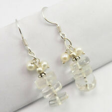 Multicolor Crystal, Pearl Beads Dangle Earrings Sterling Silver Stone Gift