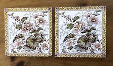 """Pair Antique Transferware 6"""" Ceramic Tiles Aesthetic Movement England flowers"""