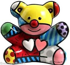 "ROMERO BRITTO Teddy Bear 10"" Ceramic Cookie Jar Sculpture Out-of-Production NEW!"