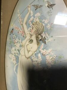 antique Art Nouveau Print Picture Woman Nymph with flowers and birds Beautiful