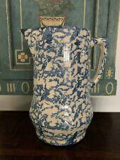 New listing Antique Blue White Spongeware Pitcher Stoneware Aafa